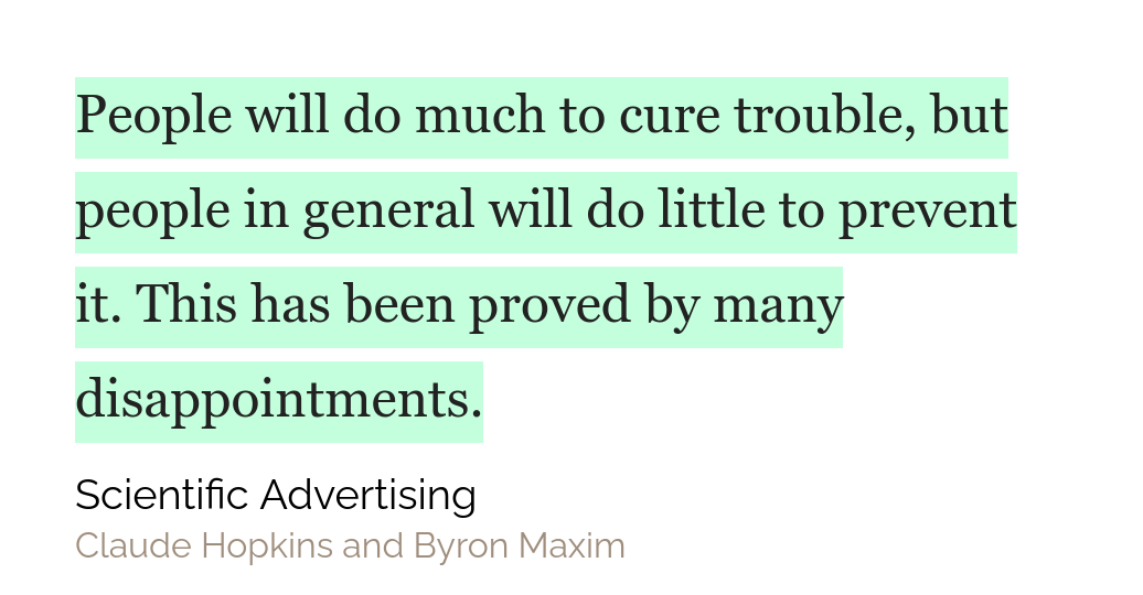Quote from the book Scientific Advertising